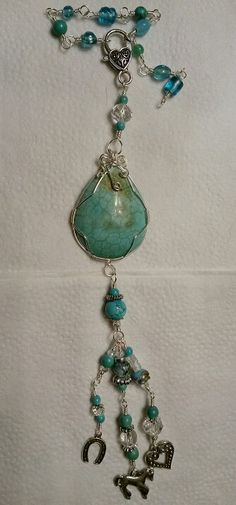 Turquoise wire wrapped beaded car charm, sun catcher.  Purse fob.