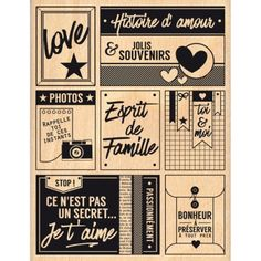 Tampon bois PASSIONNÉMENT FAMILLE Tampon Scrapbooking, Pocket Scrapbooking, Vintage Quotes, Vintage Fonts, Pub Vintage, Love Dating, Tampons, Tile Art, Design Quotes
