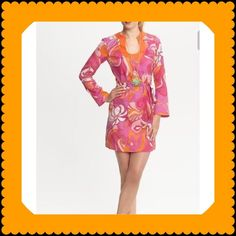"""Trina Turk Tunic Dress Trina Turk Tunic Dress with BeltGorgeous Multi-Color Pink and Orange Tunic Dress from a special summer collection created especially for Banana Republic::::60% cotton; 40%silk; trim 98% cotton; 2% elastane; 100% cotton lining•••length 36""""•••bust 36""""•••waist 35""""•••hips 40""""•••sleeves 24"""" and shoulders 15""""••• The Fabric is Beautiful! I am only re- selling this dress because it fits more like a size (6) **will consider reasonable offers* Trina Turk Dresses Long Sleeve"""