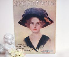 Early 1900s SHEET MUSIC Victorian Pin Up Black by DecadesAntiques