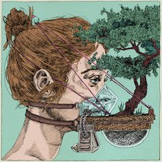 urban facemask gardening | artist: kit layfield Fearless Photography, Spiderman, Hi Fructose, Crochet Mask, Colossal Art, Illustration, Pop Surrealism, Halloween Masks, Mask Design