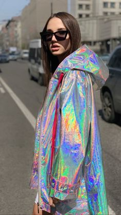 Your place to buy and sell all things handmade Holographic Raincoat, Holographic Jacket, Holographic Fashion, 90s Fashion, Fashion Beauty, Girl Fashion, Fashion Outfits, Festival Looks, Pretty Outfits