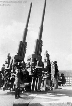 Twin 128mm FlaK 40 anti-aircraft guns defending Berlin.  (Anti-aircraft Zoo Tower)