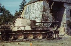 Knocked out Panther near St. Gilles (or perhaps Hambye), France, 1944.