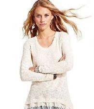 AMERICAN RAG LACE BLOCK SWEATER Long Sleeve Tunic Top Shirt Knit Ruffle Hem sz M