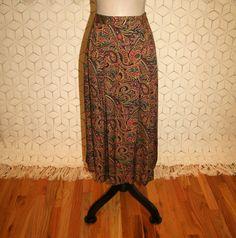 90s Fall Skirt Paisley Skirt Bohemian Print Skirt by MagpieandOtis