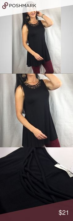 Solid Jersey Strappy Neckline Sleeveless Tunic Top Long criss Cross detail solid black top Solid Jersey Strappy Neckline Sleeveless Tunic Top   95% Rayon Jersey, 5% Spandex  Made in USA Emerald Fashion Tops Tunics