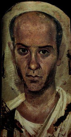Fayoum mummy portrait of a man.