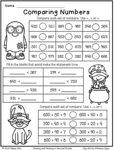 Printables Comparing Numbers Worksheets 2nd Grade halloween math worksheets and ordering numbers on pinterest for second grade comparing free