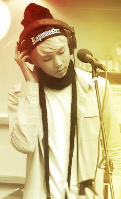 Rap Monster, Rap Mon, Namjoon, mic, headphones, beanie