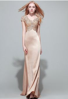 Modest Mermaid V Neck Empire Waist Champagne Satin Lace Beaded Evening Dress With Sleeves