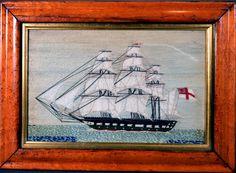 Sailor's Woolwork | Sailor's Woolwork or Woolie of A Royal Navy Ship Under Full Sail | Circa 1865 | Earle D. Vandekar of Knightsbridge Inc. Royal Navy Frigates, Full Sail, Merchant Navy, Royal Marines, Out To Sea, Navy Ships, Submarines, Union Jack, Battleship
