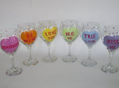 Items similar to Hand Painted Valentine's Day Wine Glasses with Hearts - Conversation Hearts on Etsy
