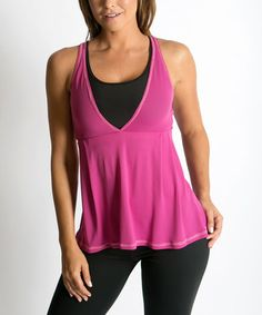 Look at this #zulilyfind! Pink & Black Loose Power Built-In Bra Tank by Be Up #zulilyfinds
