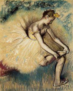 Dancer Putting on Her Slipper - Degas.  Public Domain - to print Edgar Degas, Mary Cassatt, Pierre Auguste Renoir, Claude Monet, Matisse, Degas Artist, Degas Paintings, Oil Painting Reproductions, Impressionist Art