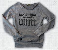 Coffee Sponsored  Eco off the shoulder sweatshirt by everfitte, $38.00 #coffee #funny #offtheshoulder #fashion