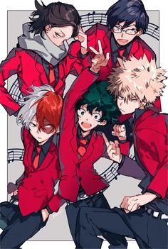 My Hero Academia - Aizawa, Iida, Todoroki, Midoriya & Bakugou My Hero Academia Episodes, My Hero Academia Memes, Hero Academia Characters, Anime Characters, Boku No Hero Academia, My Hero Academia Manga, Fanarts Anime, Anime Manga, Anime Guys