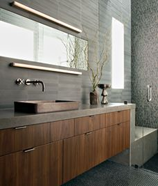 Master Bathroom : Artemide light bar run horizontally on top/below of mirror