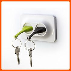 Double Unplug Key Holder by Qualy Design. White Key Holder, Green and Black Key Rings. Unusual Wall Keyholder Stylized as Electrical Wall Socket and 2 Key Fobs. Unique Gift for Him or Her. - Fun stuff and gift ideas (*Amazon Partner-Link)