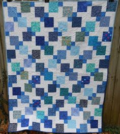 I pulled a bunch of 5 squares from my scraps and made the same pattern in four colorways. The backs are pieced from 5 squares as well. Disappearing Nine Patch, Missouri Star Quilt, Scrappy Quilts, Patches, Blanket, Create, Gallery, Projects, Pattern