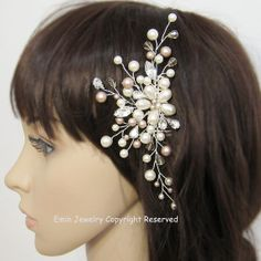 Ivory Pearls Rhinestone Floral Vine Silver Bridal by adriajewelry, $68.00