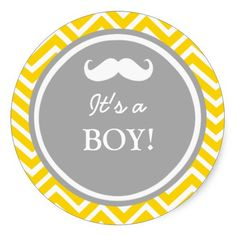 Mustache chevron baby boy shower round sticker
