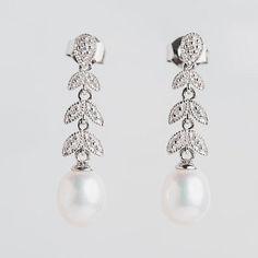 14kt Pearl Diamond Drop Dangle Earrings White Gold Long