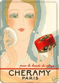 LARGE French Chic Art Deco Style Cheramy Perfume Make Up Paris Shabby Metal Sign