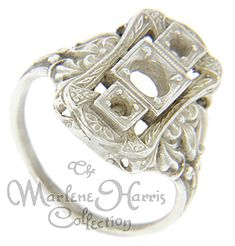 looking for setting for my diamonds Filigree Design, Gold Filigree, Floral Print Skirt, Floral Prints, Antique Style Engagement Rings, Precious Metals, Diamonds, Stones, White Gold
