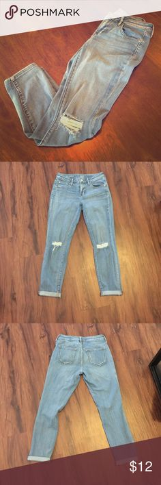 Skinny ankle jeans Relaxed fit skinny ankle jeans. Holes in the knees. Super comfortable and chic. Pairs great with wedges, booties, and sandals. So versatile and a closet staple.  (First picture not actual item; for styling purposes only.) a.n.a Jeans Ankle & Cropped