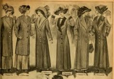 1912 women's long coats. Winter fashion aboard the Titanic for middle classes.