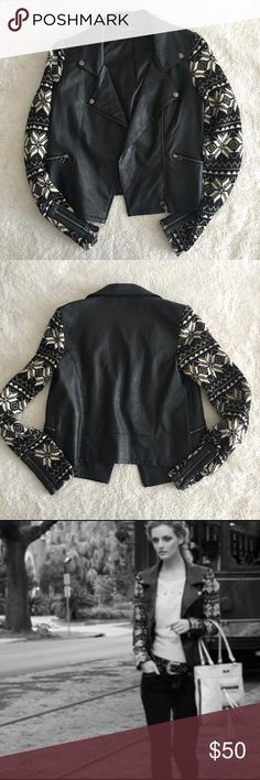 Miss Me Faux Leather Moto Jacket - Cute and in great condition!  - Functional zippers and snap buttons throughout - Lined  - Polyester blend  - Minor pilling on arm part of the jacket. But hardly noticeable, (as pictured) - No trades, please 0002111700pb Miss Me Jackets & Coats
