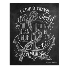 I Could Travel The World Nautical Theme - Print | $24 Lily & Val -- Put on wall with our travel pictures!