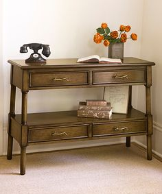 Loving this Whispering Pines Wood Four-Drawer Console Table on #zulily! #zulilyfinds