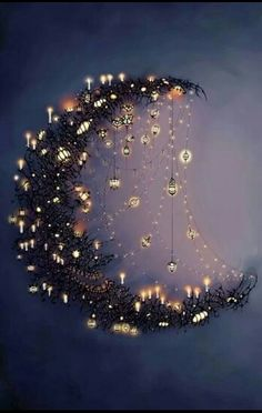 Moon and the stars.want to make some form of a crescent moon with sparkling~dangling stars. Moon Art, Moon Child, Pics Art, Stars And Moon, Sun Moon, Dark Moon, Belle Photo, Fairy Lights, Oeuvre D'art