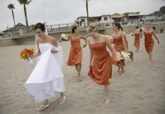 Burnt orange bridesmaids dresses in different styles and silhouettes