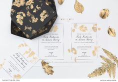 Easy DIY wedding stationery with gold leaf detailing and free printable design | Photography by Wesley Vorster Photography
