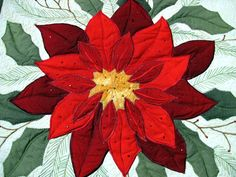 Wall Art quilt Pointsettia Applique