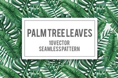 Palm tree leaves seamless pattern