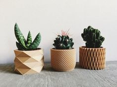 Set of 3 small geometric Pots / Planters Design Hygge printed