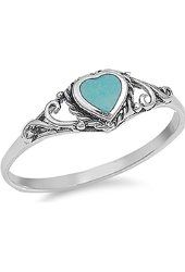 Sterling Silver Shiny Women's Simulated Turquoise Heart Ring (Sizes 4-10)