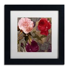 Trademark Art 'Birds and Roses' by Color Bakery Framed Graphic Art
