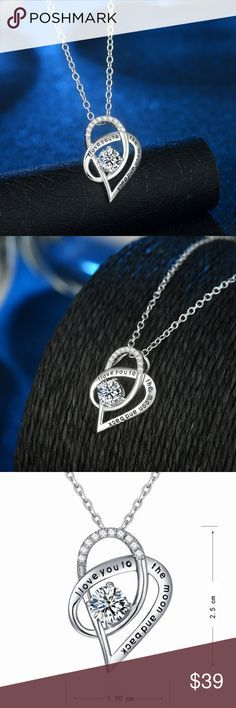 """925 S Silver Love you to Moon Back Necklace New in sealed packaging and comes with a free gift box. This is a beautiful way to say I love you without having to say a word. The necklace makes a great Valentine's Day, birthday, Christmas, Mother's Day or anytime you want to make someone smile day gift. 925 Sterling Silver Pendant is about 1"""" tall and .5"""" wide with an 18"""" necklace. Jewelry Necklaces"""