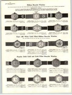 1925 PAPER AD 3 PG Elgin Wrist Watch ART NOUVEAU Hofrers Ladies' | eBay