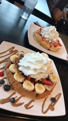 [I Ate] Almond Butter Waffle and a Strawberry Cheesecake Waffle - Desserts - Fast Food I Love Food, Good Food, Yummy Food, Tasty, Mothers Day Desserts, Snap Food, Tumblr Food, Food Snapchat, Fast Food