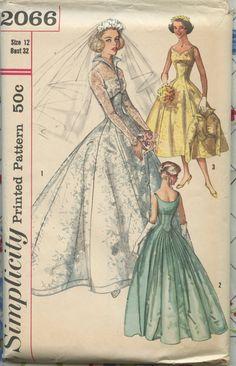 1957 Simplicity 2066  Wedding Dress Pattern- Sweetheart Neckline Empire Waist Evening Gown & Jacket.