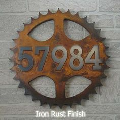 Sprocket Address Plaque Home Numbers for the bike lover 14 diameter totally custom for you by Atlas Signs and Plaques House Address Sign, Address Plaque, Address Signs, Iron Rust, Cool Shapes, Address Numbers, Pewter Color, Plate Crafts, Bike Art