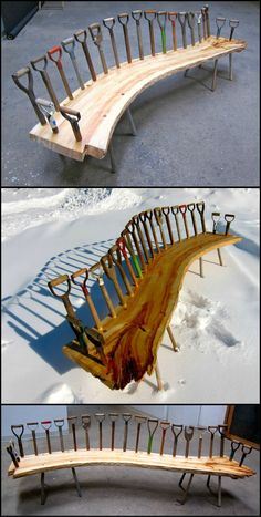 Ever broken a spade or shovel? Here's a wonderfully creative way of reusing shovel handles?  OK... OK... so that's a lot of broken shovels but if you want to see what's possible when you reuse, re-purpose or recycle view the full collection at  http://theownerbuildernetwork.co/fgbj  Do you dig this bench?