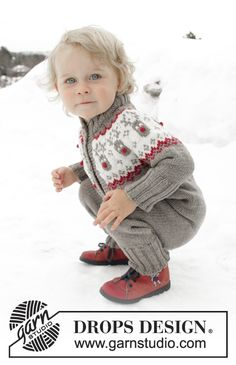 Free knitting patterns and crochet patterns by DROPS Design Baby Boy Knitting Patterns, Baby Cardigan Knitting Pattern, Baby Hats Knitting, Knitting For Kids, Baby Patterns, Free Knitting, Crochet Patterns, Drops Design, Crochet Toddler