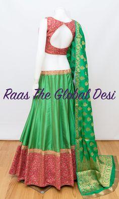 CHANIYACHOLI 2018 Silk Chania with designer brocade blouse and contrast dupatta Lehenga Gown, Lehenga Choli Online, Bridal Lehenga, Lengha Choli, Sharara, Ethnic Outfits, Indian Outfits, Indian Clothes, Chaniya Choli Designer